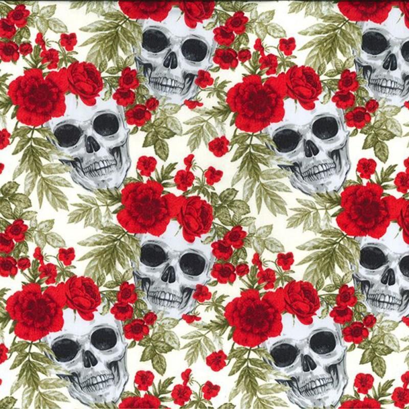 Ivory 100% Cotton Poplin Fabric Rose & Hubble Skulls & Roses Halloween Spooky