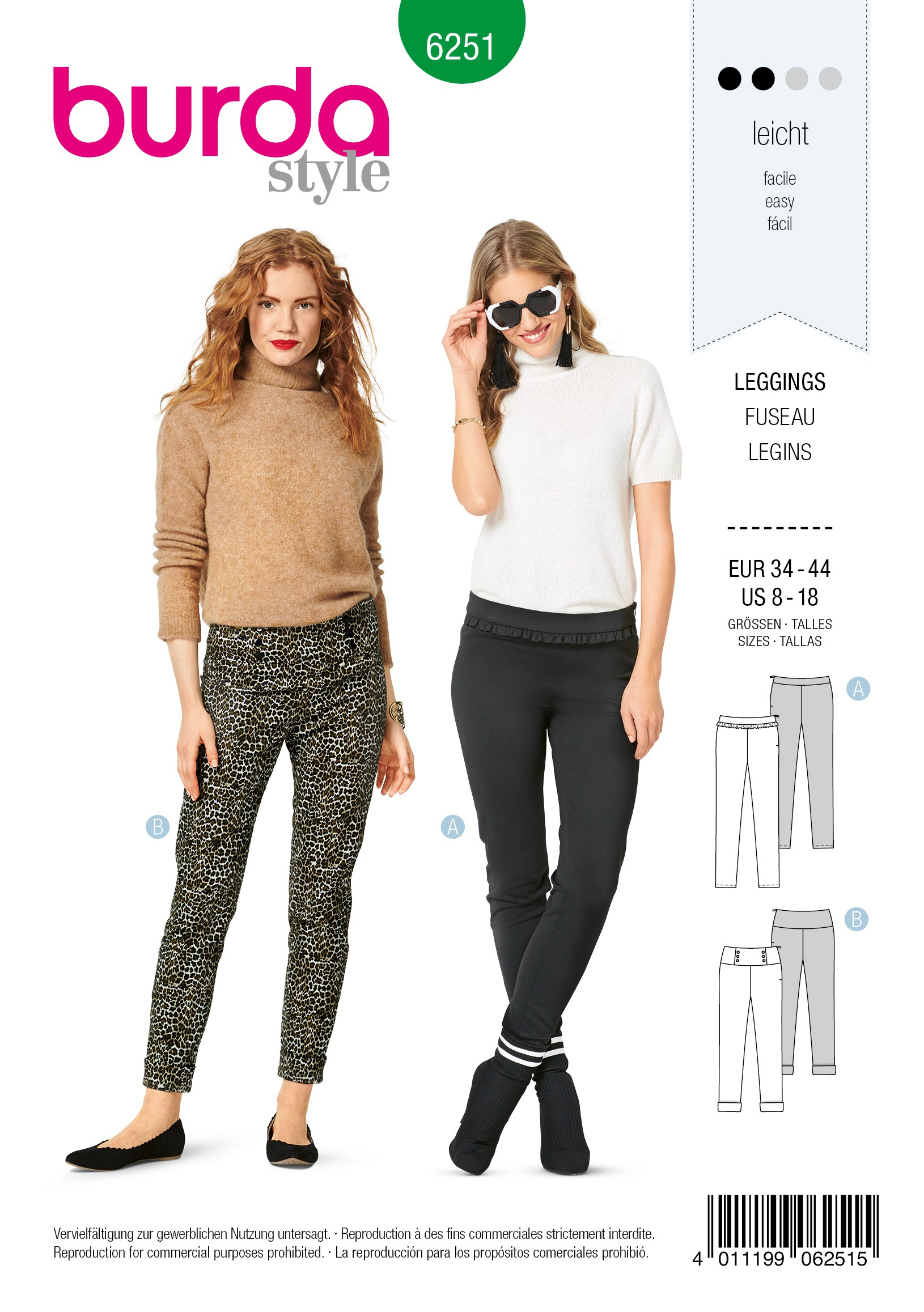 Burda Style Sewing Pattern 6251 Women's Skinny Stretch Trousers Leggings