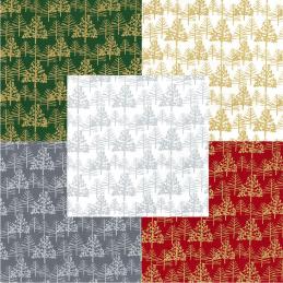 100% Cotton Fabric John Louden Metallic Print Linear Christmas Trees Xmas Festive