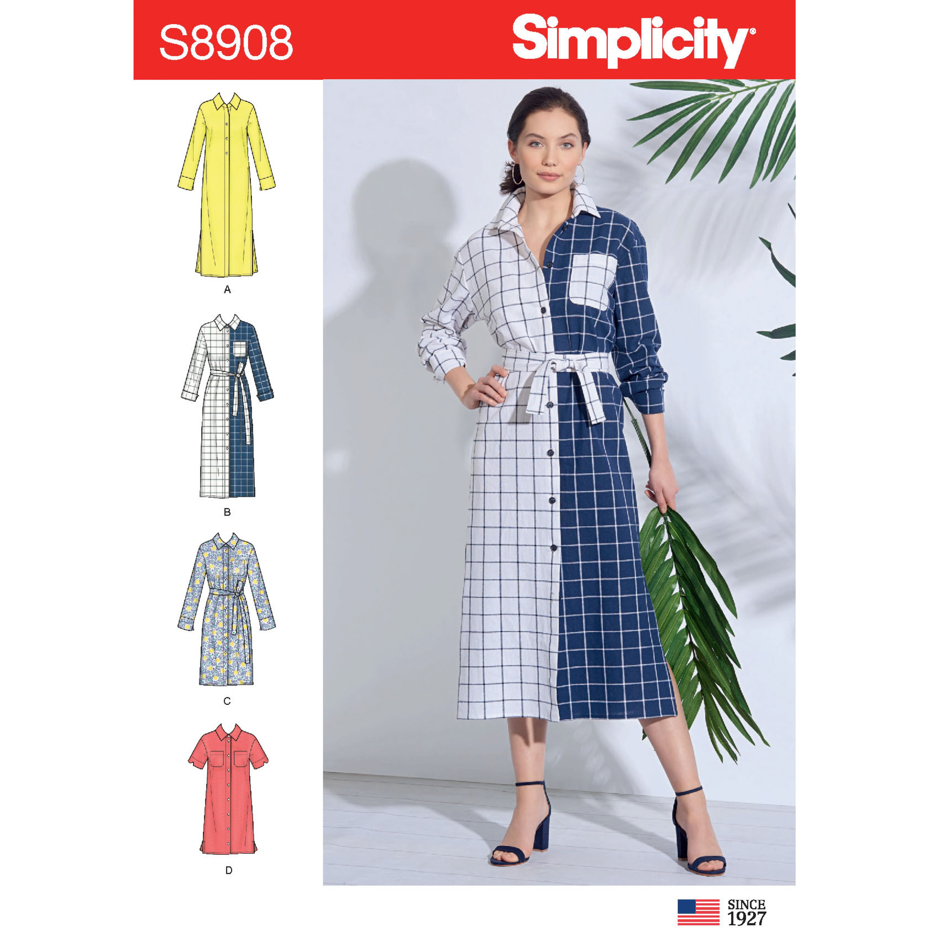 Simplicity Sewing Pattern 8908 Misses' Long Casual Shirt Dress