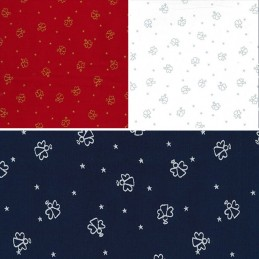 100% Cotton Fabric John Louden Christmas Angel Outlines & Stars Festive Xmas