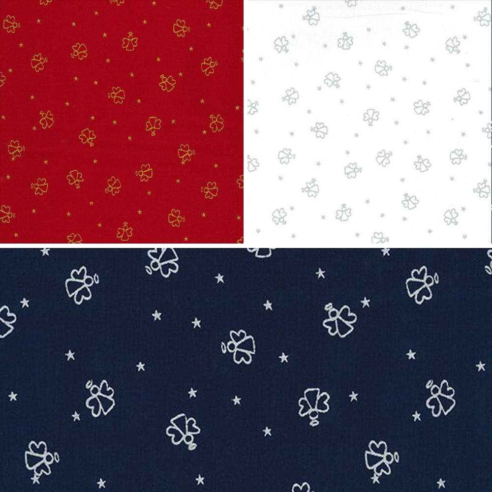 Red 100% Cotton Fabric John Louden Christmas Angel Outlines & Stars Festive Xmas