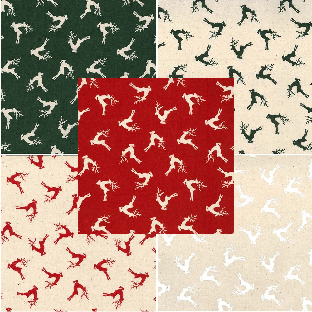 Green Natural 100% Cotton Fabric John Louden Christmas Prancing Reindeer Rudolph Festive Xmas