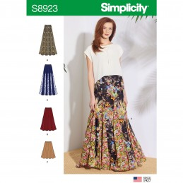 Simplicity Sewing Pattern 8923 Misses' Long Maxi Midi & Short Pull On Skirt