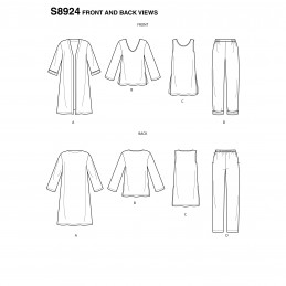 Simplicity Sewing Pattern 8924 Misses' Wardrobe Pattern Jacket Tunic Shirt & Trousers