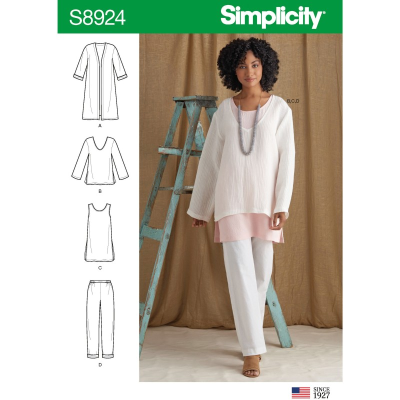 - XL 6-8 22-24 Simplicity 8603 Misses Pullover Loose Fitting Tops  XS