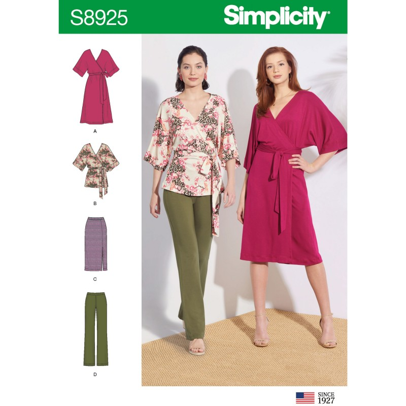 Simplicity Sewing Pattern 8925 Misses' Wrap Dress, Shirt, Knit Trousers & Skirt