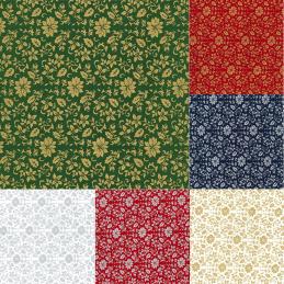 100% Cotton Fabric John Louden Metallic Print Christmas Holly Vine Flower Leaves