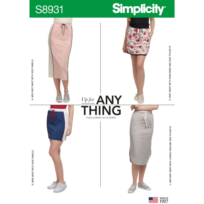 Simplicity Sewing Pattern 8931 Misses' Athleisure Inspired Stretch Knit Skirts