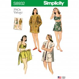 Simplicity Sewing Pattern 8932 Misses' Vintage Bikini Top, Shorts, Wrap, Skirt & Coat