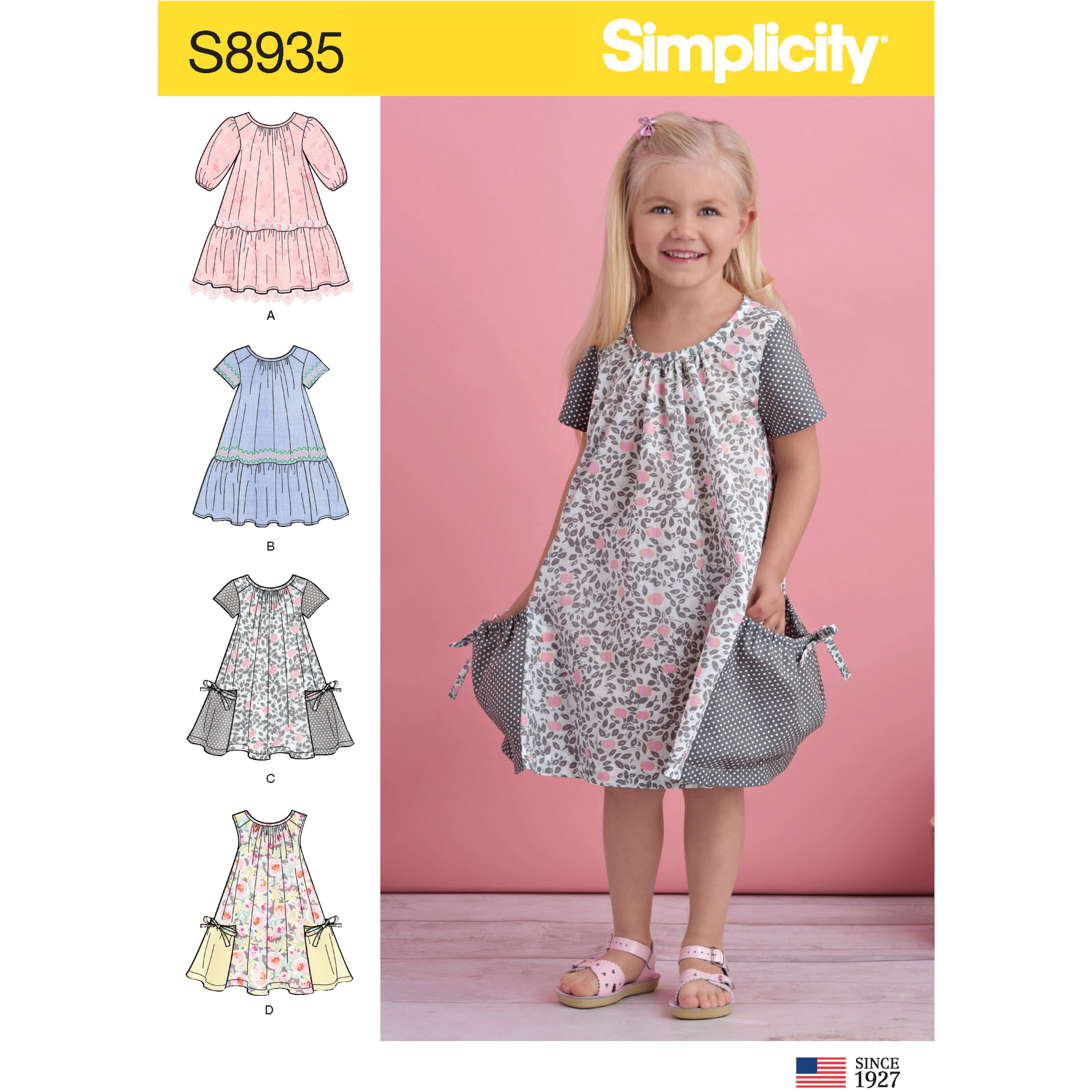 Simplicity Sewing Pattern 8935 Children's Full Skirt Dress with Pocket Option