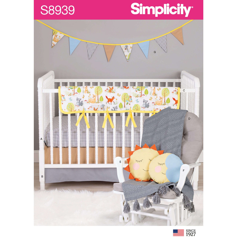 Simplicity Sewing Pattern 8939 Nursery Crib Décor Cushions Decorative Bunting