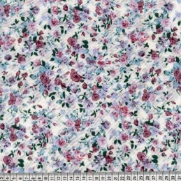 Polycotton Fabric Victoria's Pretty Rose Garden Floral Flower Ivory