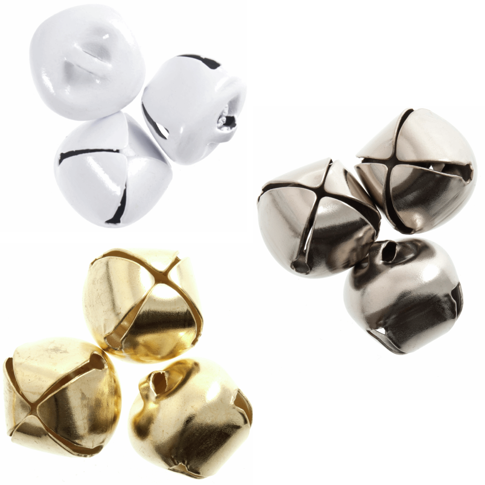 Trimits Christmas Festive Jingle Bells Xmas Trees Embellishments 3 Pack 20mm Silver