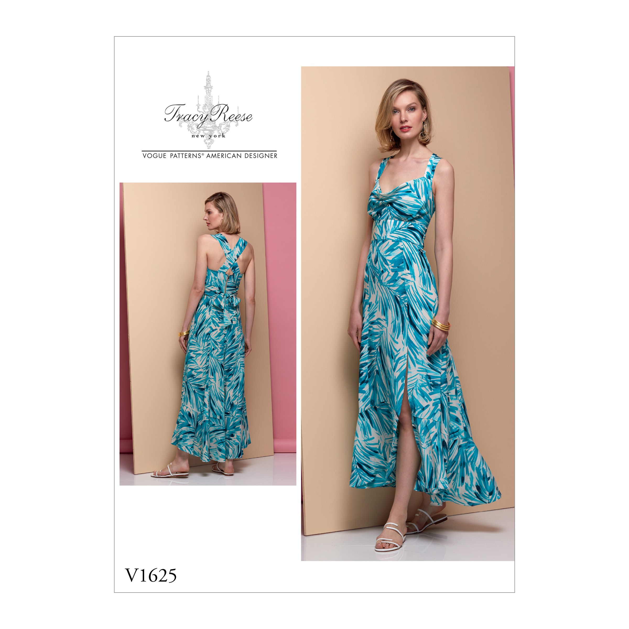 Vogue Sewing Pattern V1625 Women's Cowl Neck Slit Skirt Maxi Dress