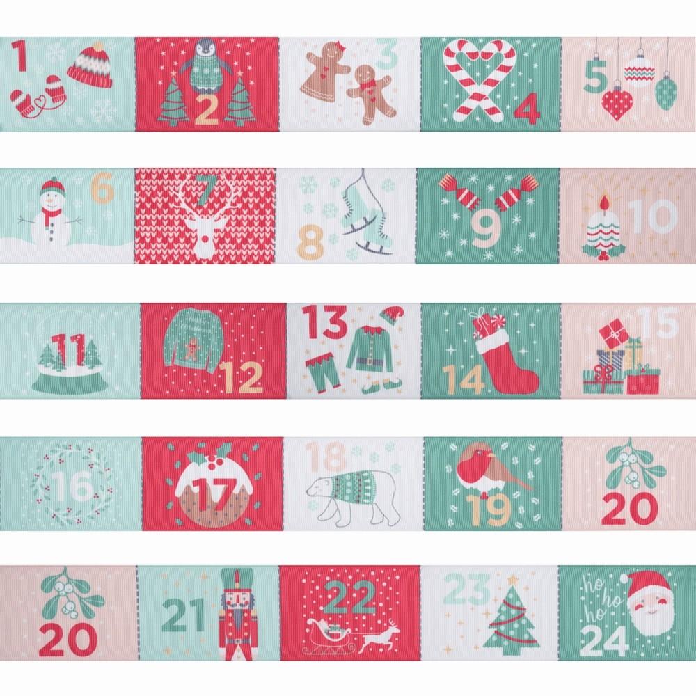 Advent Calendar Ribbon Trimits 87cm x 50mm Christmas Xmas Crafts