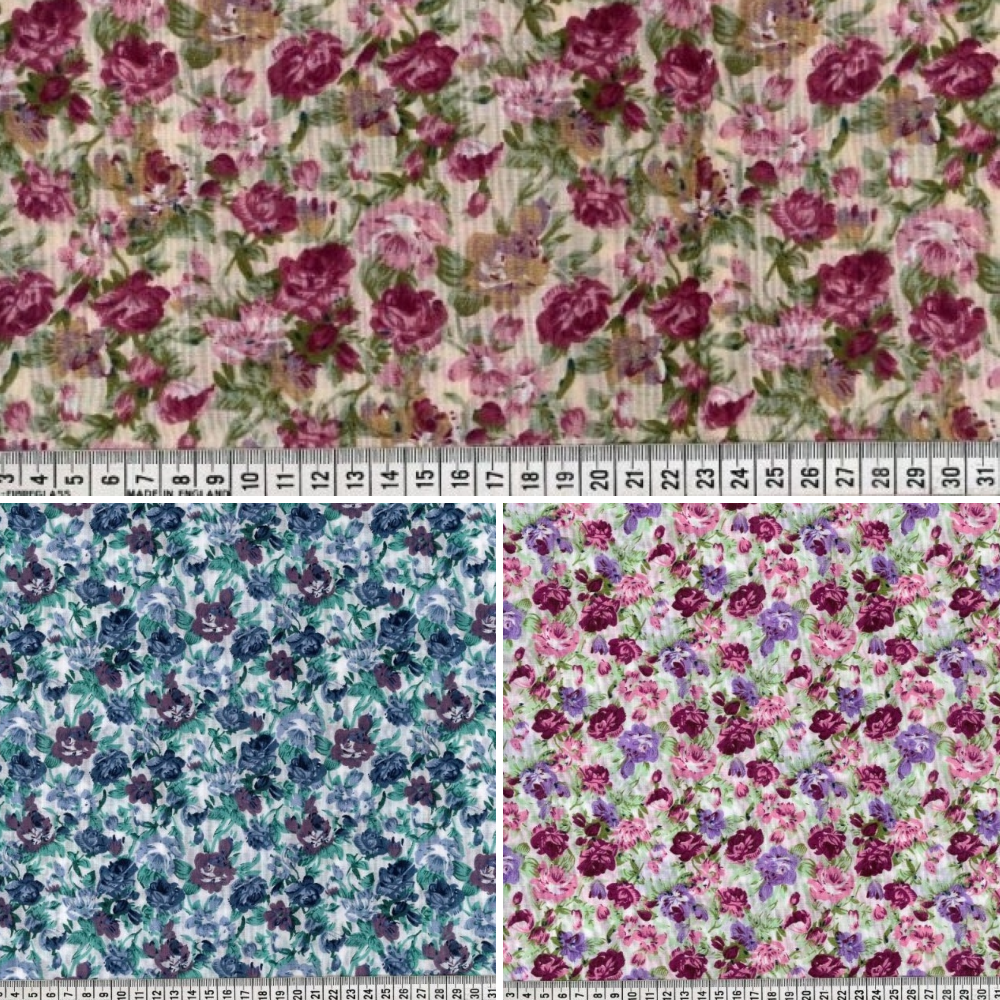Polycotton Fabric Fabulous Arley Floral Flower Rose Garden Purple