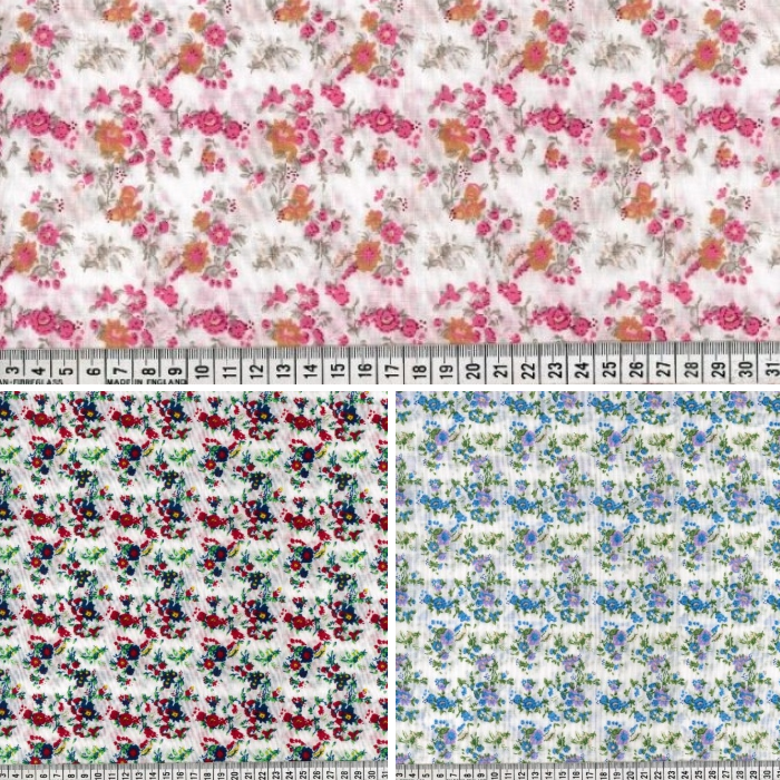 Polycotton Fabric Gemini Park Floral Flower Vines Leaves Pink