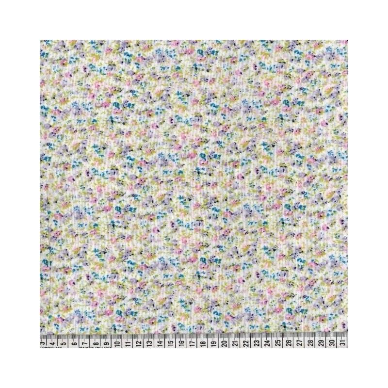 Polycotton Fabric Rose Ditsy Floral Flowers Scents Of Heaven Pink
