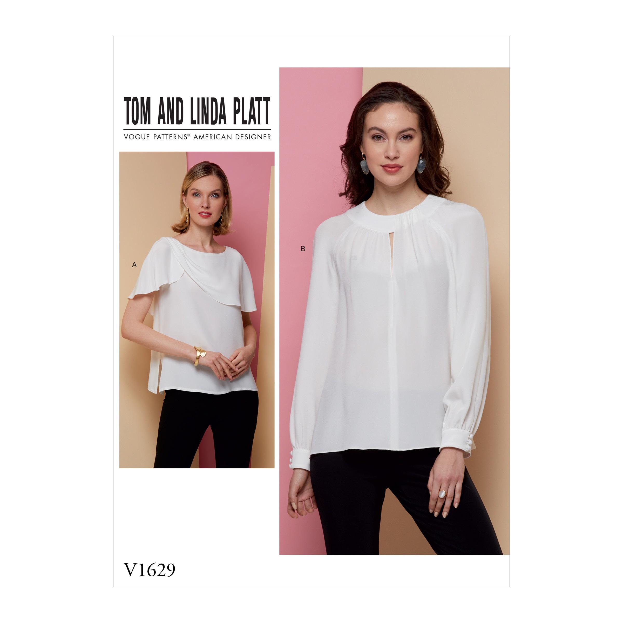 Vogue Sewing Pattern V1629 Women's Lightweight Blouse Shirt Top Collar Option