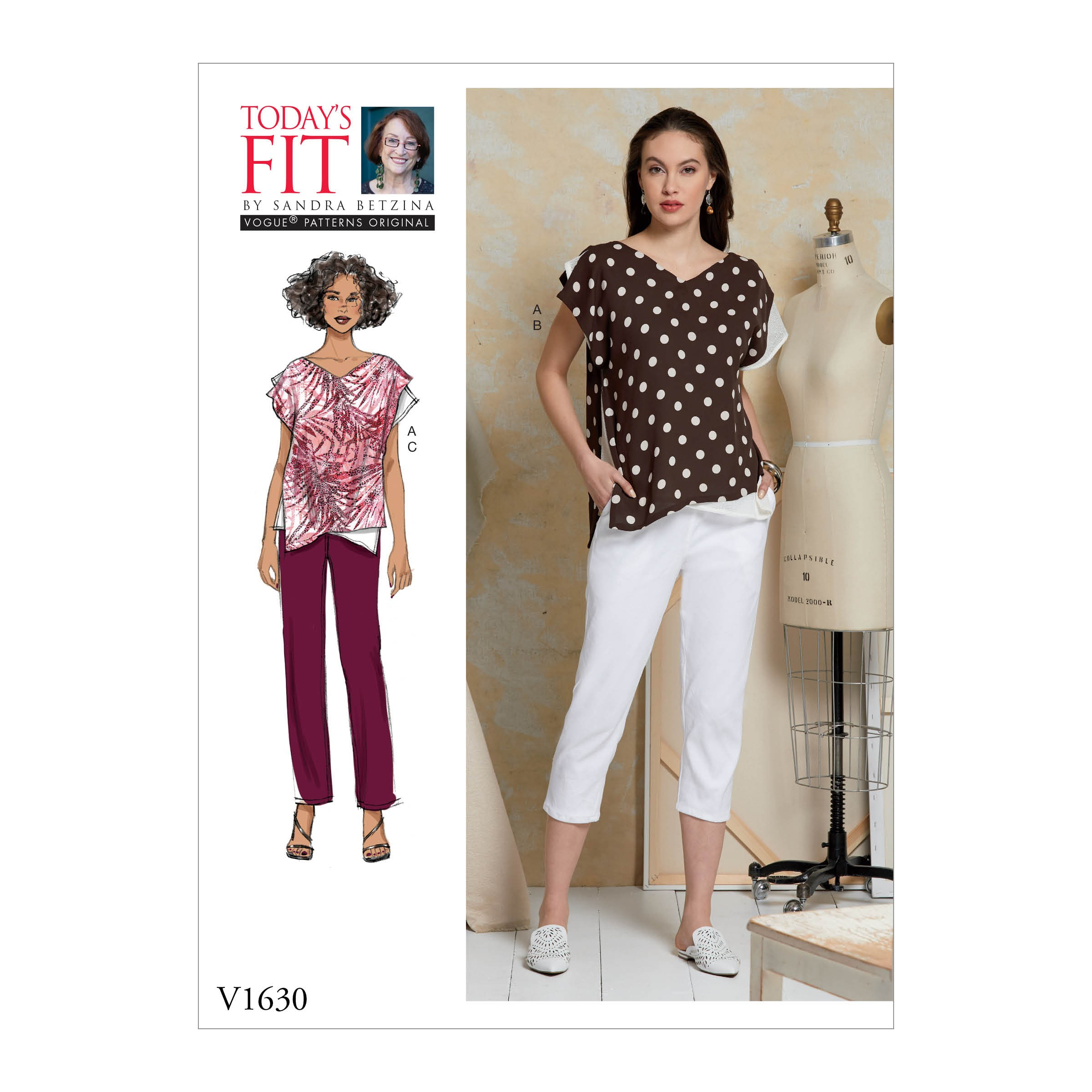 Vogue Sewing Pattern V1630 Women's Loose Fit Pullover Top and Elasticated Trousers