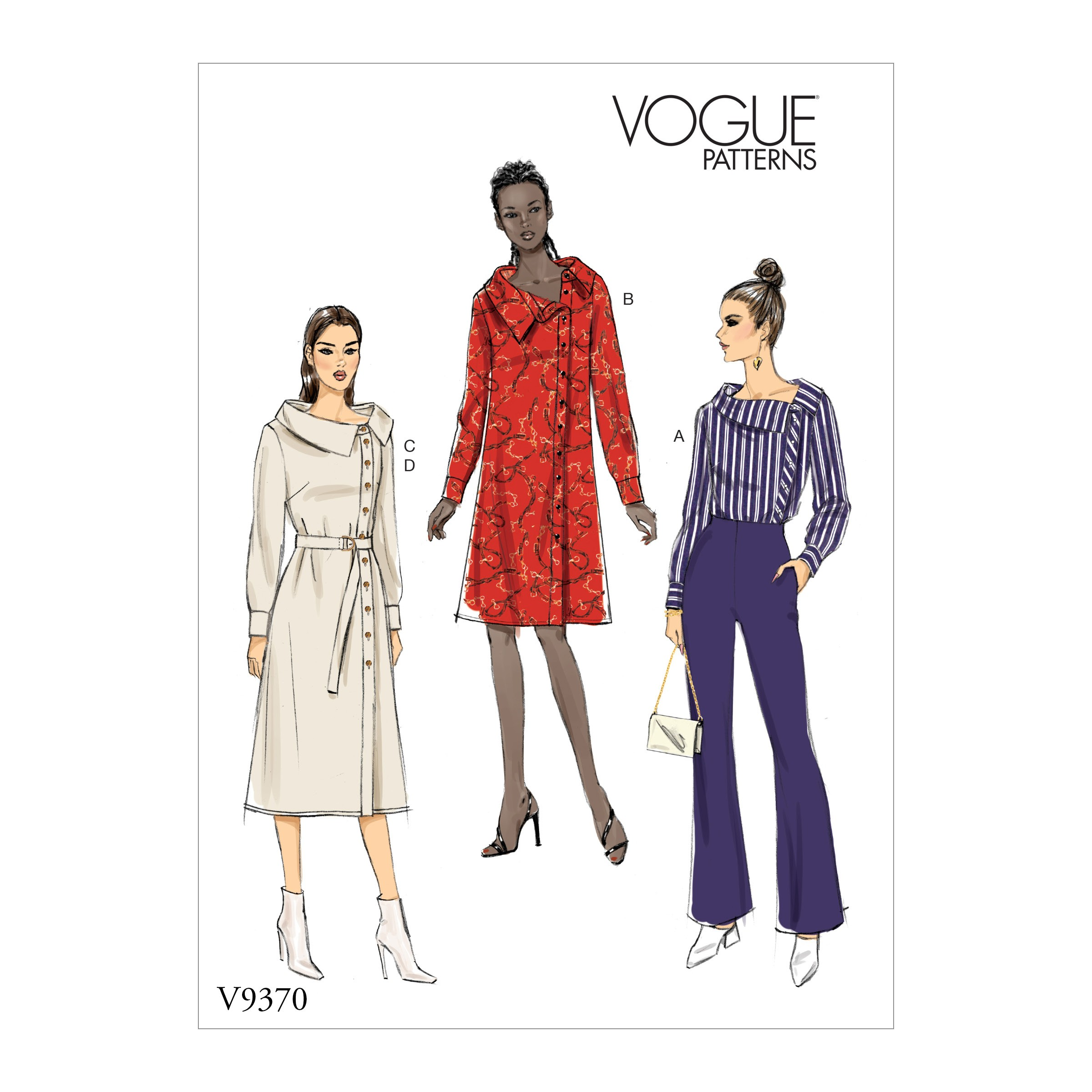 Vogue Sewing Pattern V9370 Women's Tunic, Dress and Trousers with Side Buttons