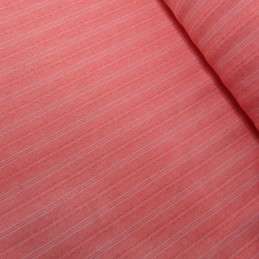 Red Striped Melange Linen Look Dressmaking Curtains 145cm Wide Polyester Fabric
