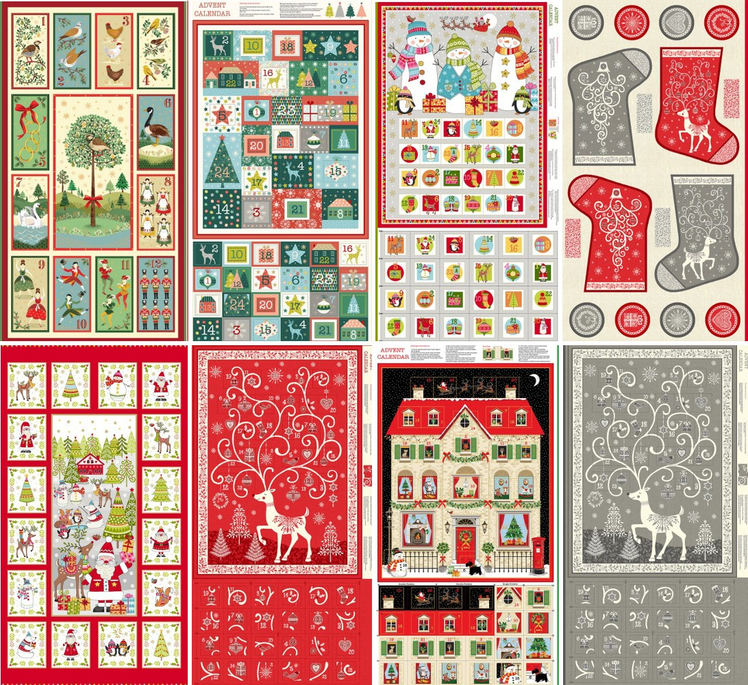 2104/1 100% Cotton Fabric Makower Advent Calendar Panel Christmas Santa Claus Rudolph