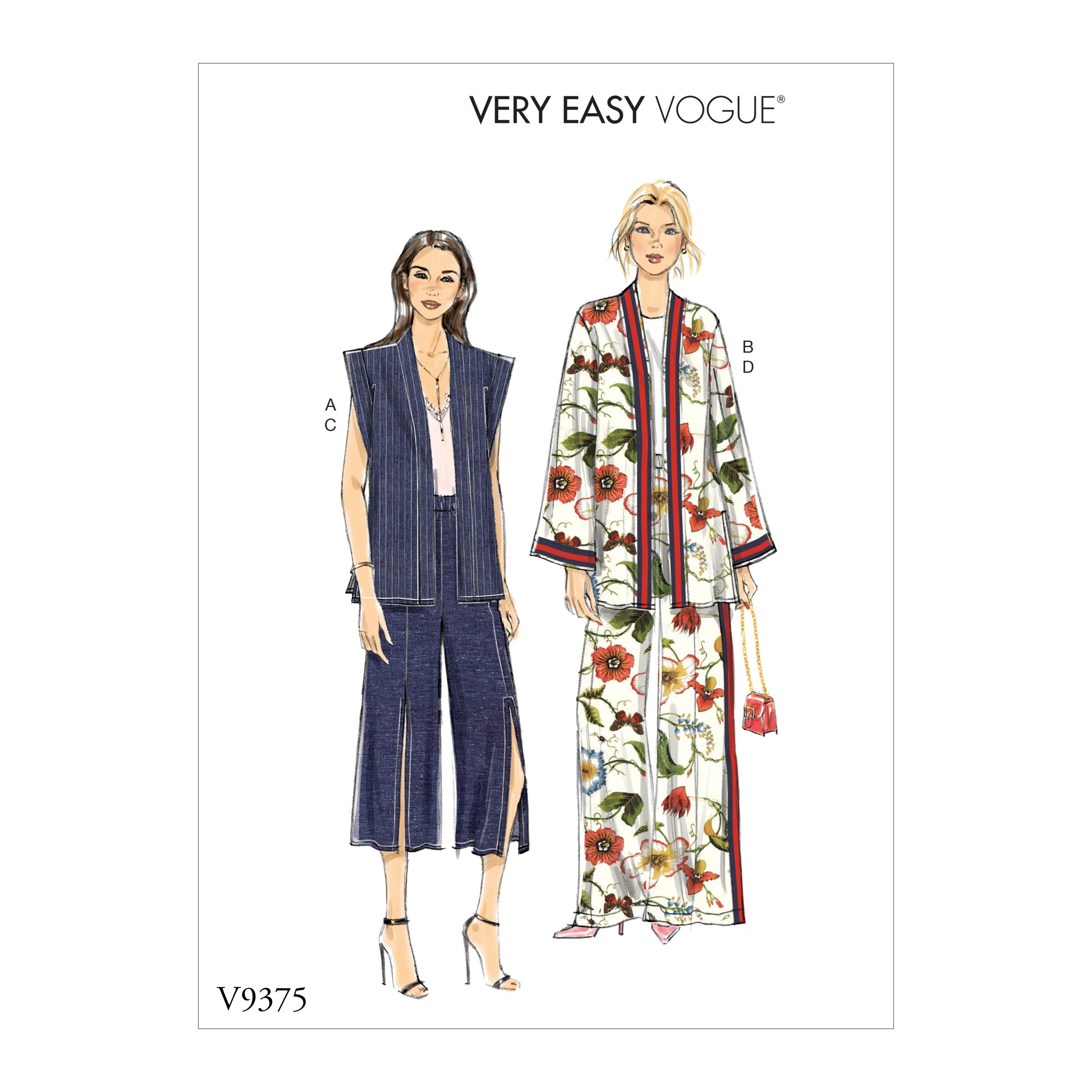 Vogue Sewing Pattern V9375 Women's Loose Fit Jacket, Vest and Trousers