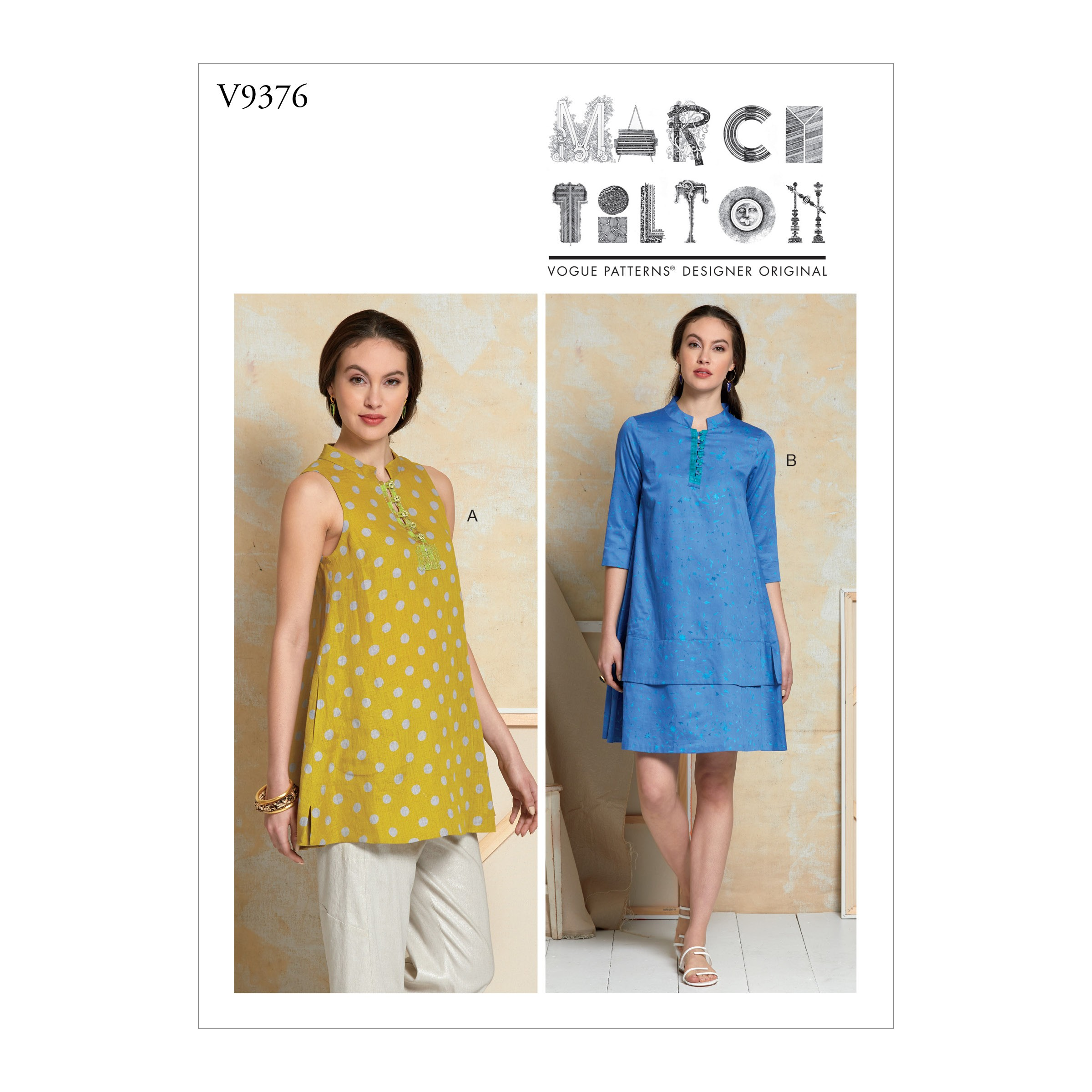 Vogue Sewing Pattern V9376 Women's Loose Fit Pullover Tunic Dress