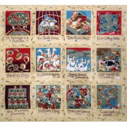 100% Cotton Fabric Nutex 12 Days Of Christmas Panel Festive Xmas 3 x 14 Squares