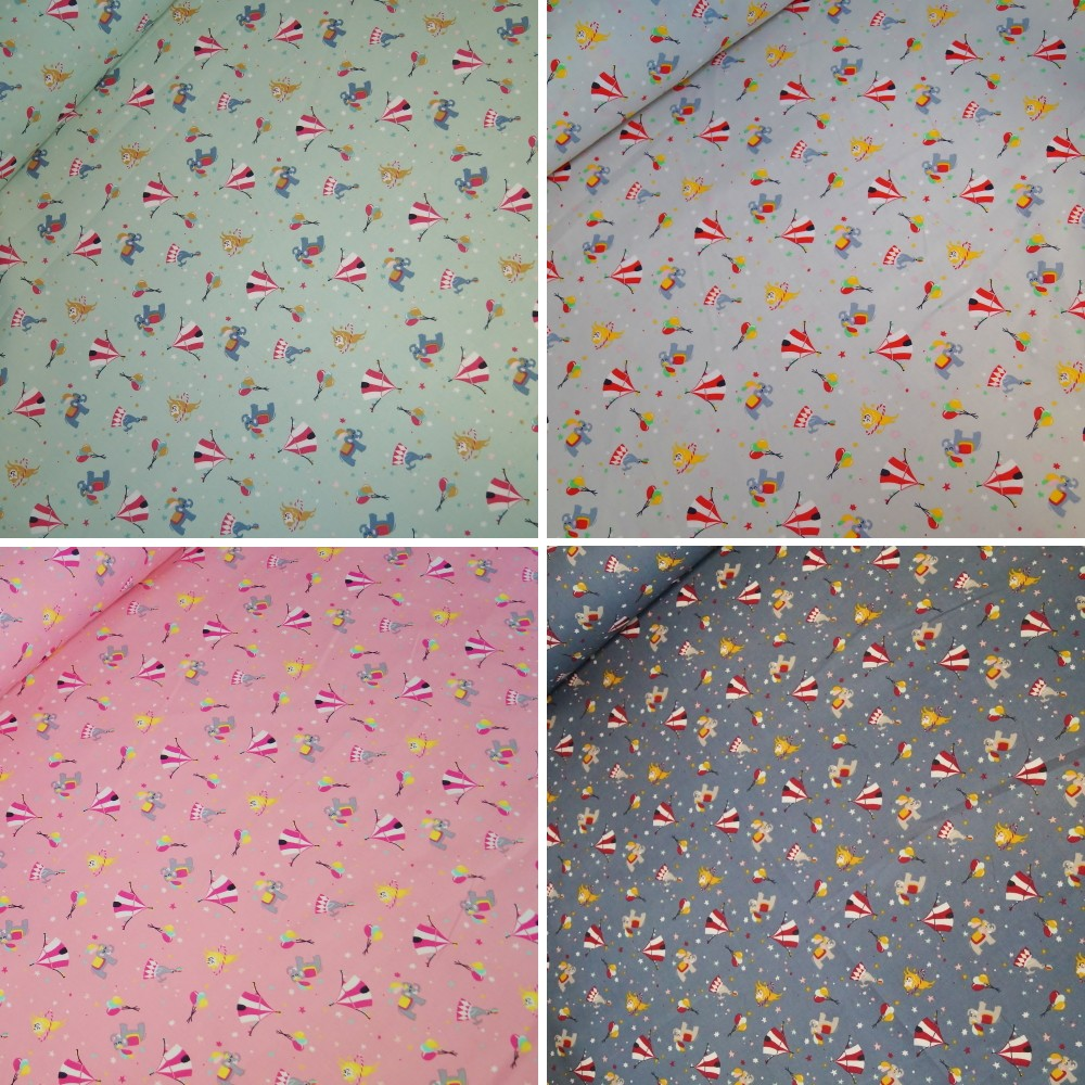 100% Cotton Poplin Fabric Night Circus Animals Balloon Stars Seal Lion Elephant Blue
