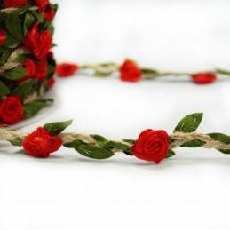 Red 1 Metre Floral Ribbon Rose Head Vines Jute Cord Craft Hessian Trim Flower