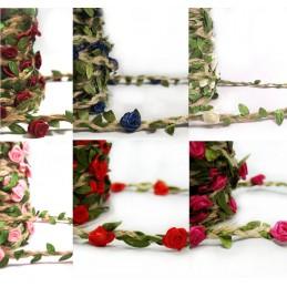 1 Metre Floral Ribbon Rose Head Vines Jute Cord Craft Hessian Trim Flower