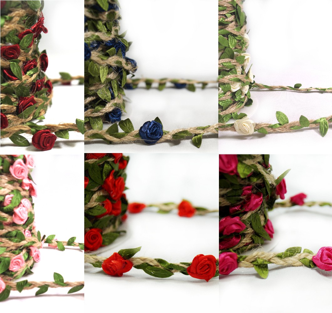Navy 1 Metre Floral Ribbon Rose Head Vines Jute Cord Craft Hessian Trim Flower
