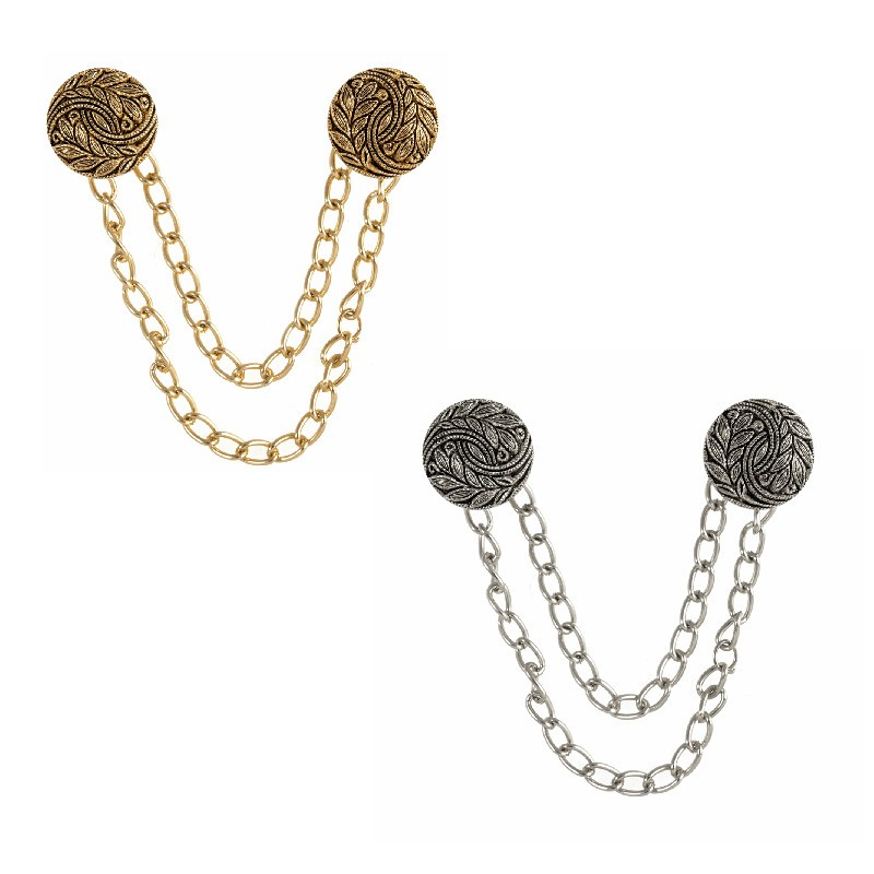 Silver Vogue Star 130mm Floral Scroll Cloak Chain Fastening Fastener Decorative Cape Costume