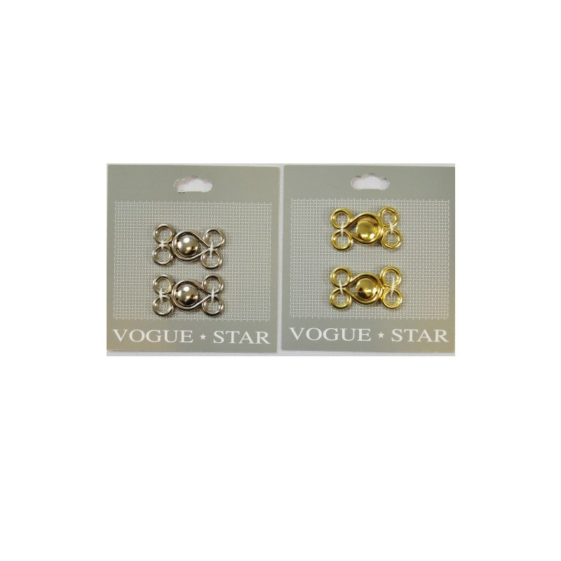 Vogue Star 35mm Pair of Metal Frog Clasps Replacement Fasteners Silver