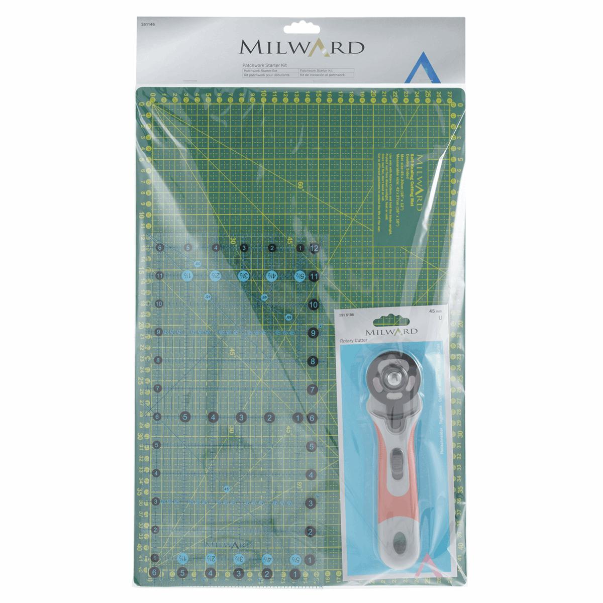 Milward Patchwork Starter Set Cutting Mat, Rotary Cutter, Ruler