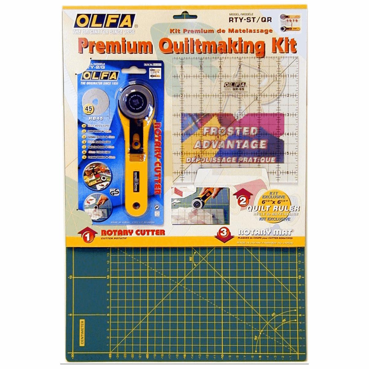 Olfa Patchwork Starter Set Cutting Mat, 45mm Rotary Cutter, Ruler