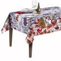 Winter Snow Vinyl PVC Tablecloth Easy Wipe Clean Christmas Festive Xmas Santa Claus Snowman
