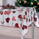 Love Hearts Vinyl PVC Tablecloth Easy Wipe Clean Christmas Festive Xmas Santa Claus Snowman