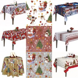 Vinyl PVC Tablecloth Easy Wipe Clean Christmas Festive Xmas Santa Claus Snowman