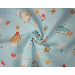 100% Brushed Cotton Printed Winceyette Flannel Fabric Hot Air Balloon Plane