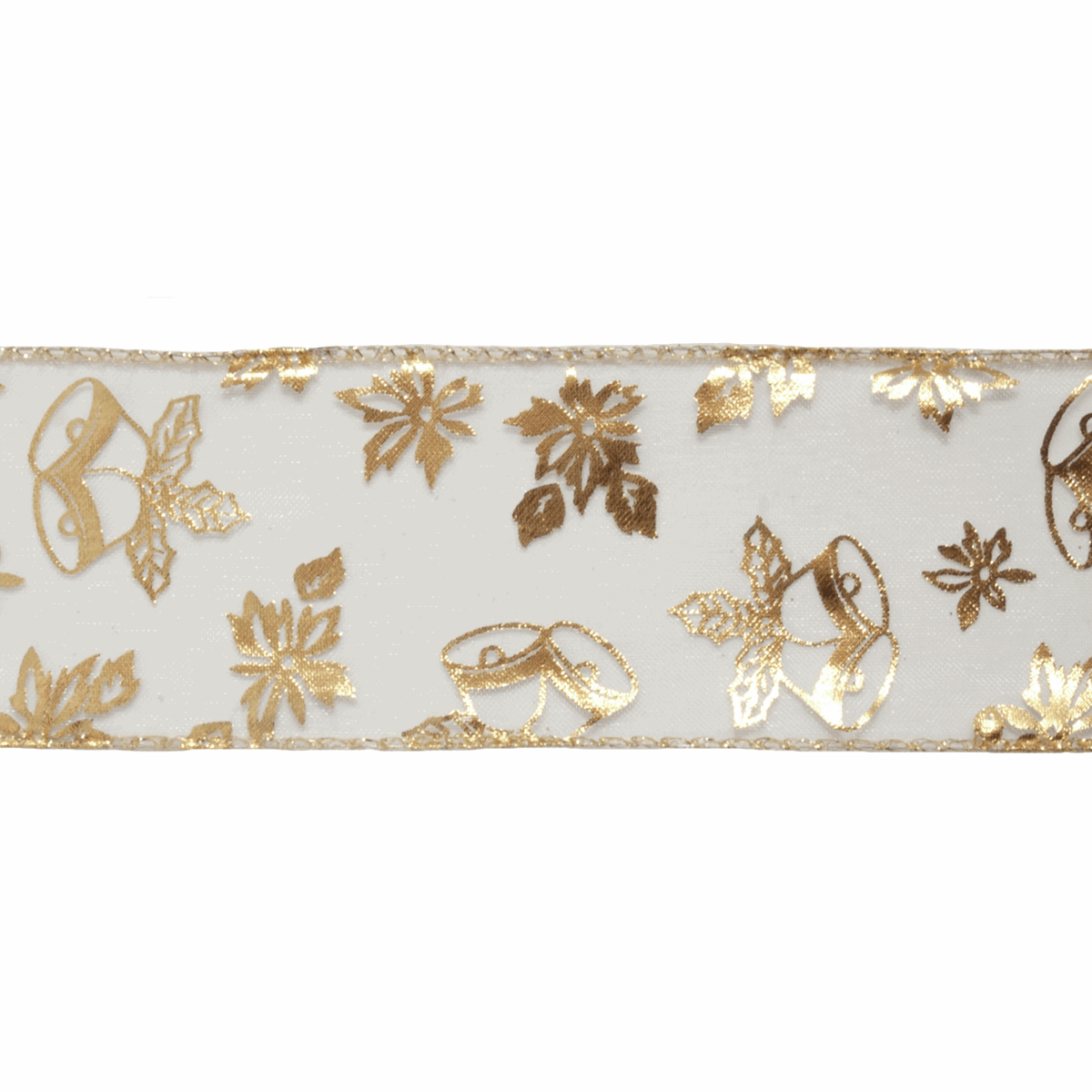 Wire Edge Ribbon Chirstmas Gold Bells and Poinsettia Xmas Festive 38mm wide