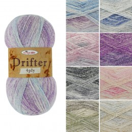 King Cole Drifter 4Ply Knitting Crochet Yarn Cotton Wool Acrylic Blend 100g