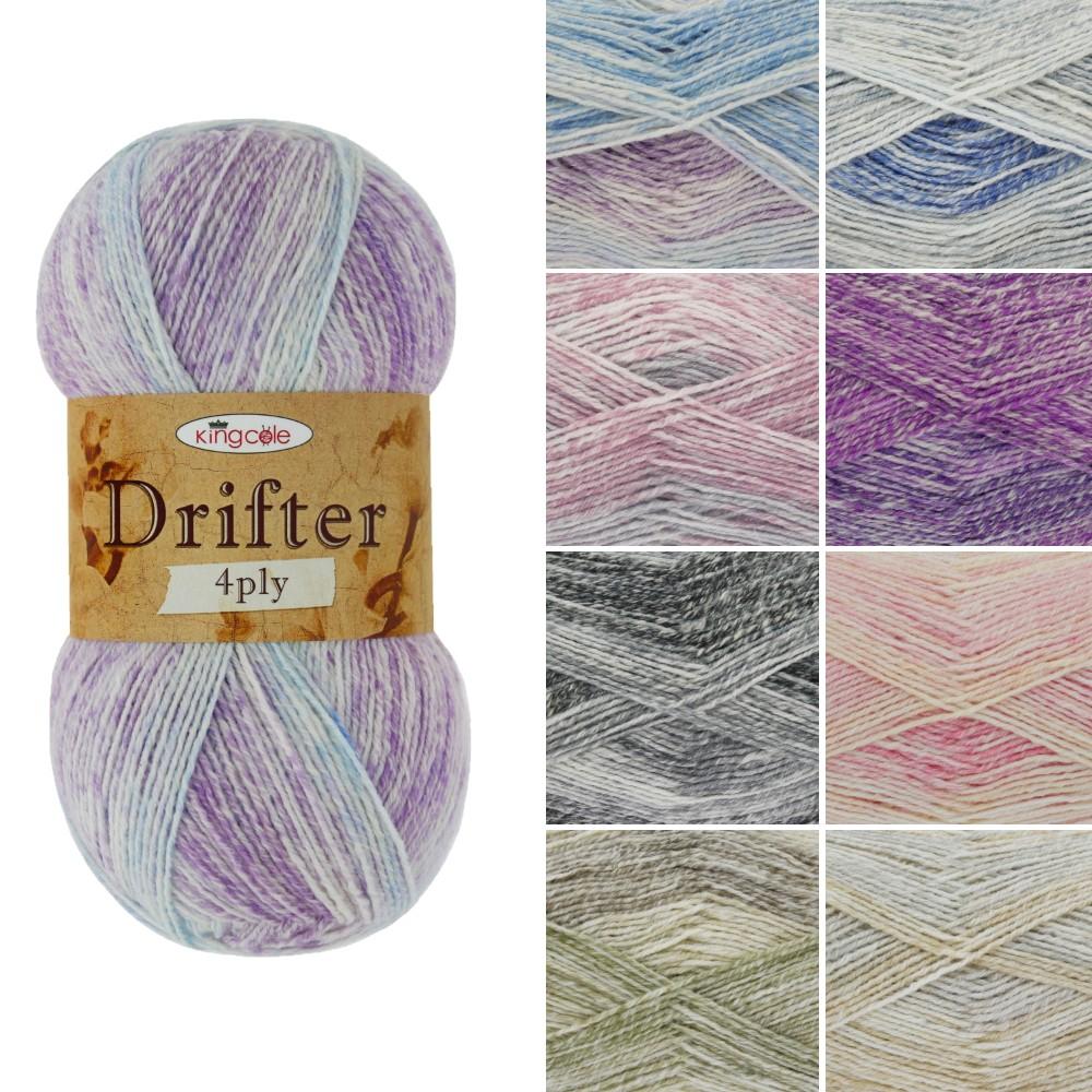 King Cole Drifter 4Ply Knitting Crochet Yarn Cotton Wool Acrylic Blend 100g Bluebell