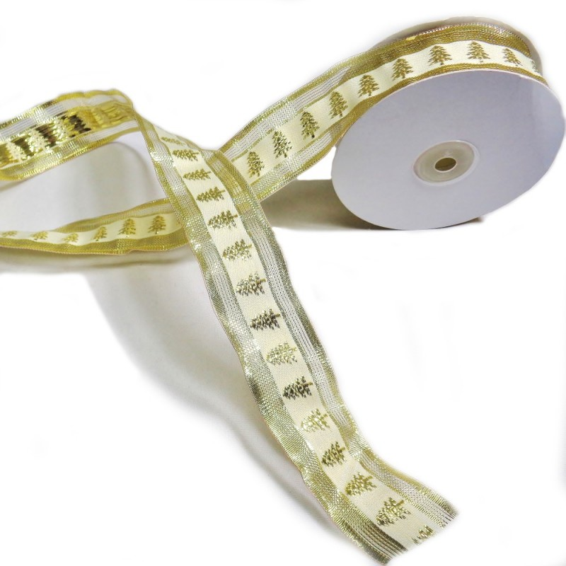 Wired Edge Ribbon Festive Chirstmas Tree In Lines Xmas 1m x 38mm Gold