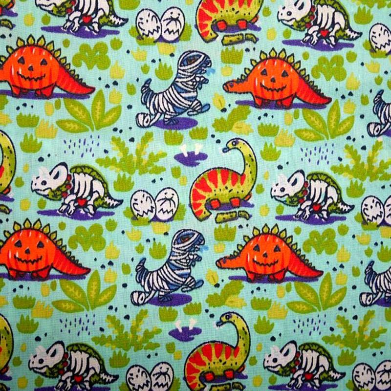 Aqua Polycotton Fabric Halloween Style Dinosaur Pumpkin T-Rex Skull Mummy Skeleton