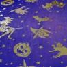 Polyester Gold Foil Halloween Sheer Fabric Witch Cat Pumpkin Stars