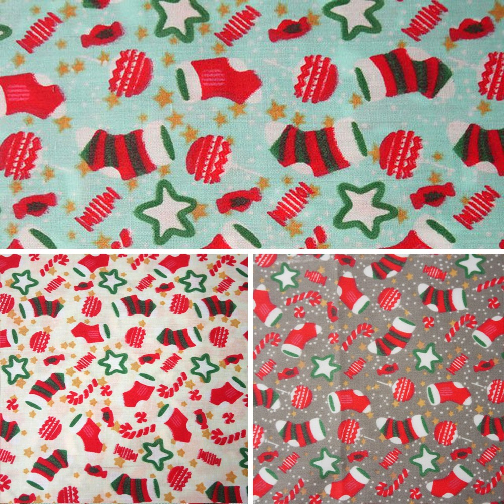 Cream Polycotton Fabric Christmas Stockings & Candy Canes Stars Festive Xmas